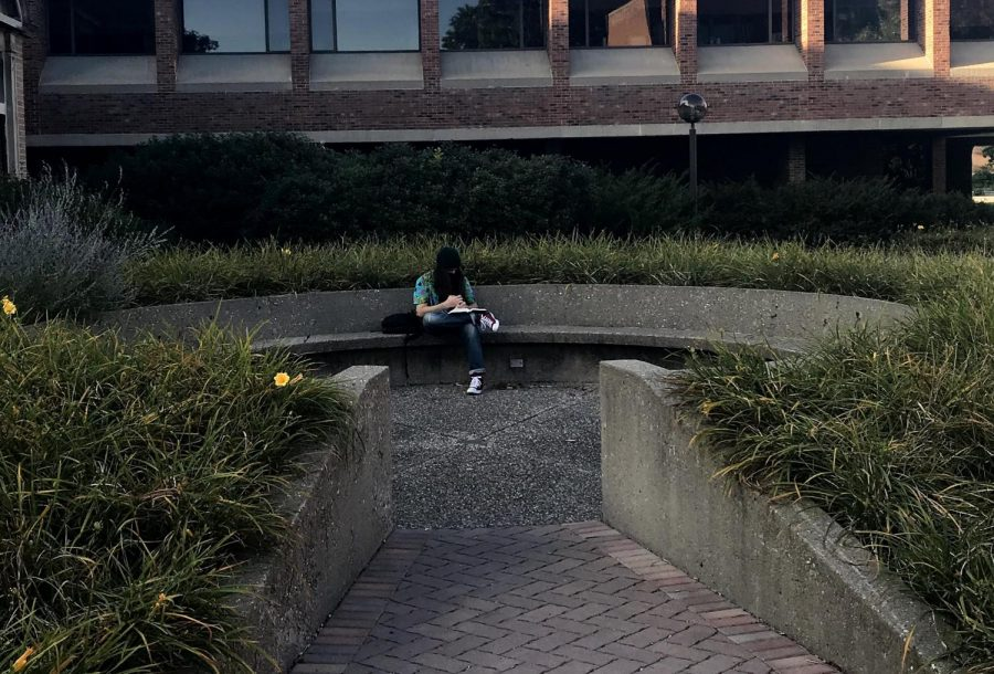A single student studying in the echo circle on campus