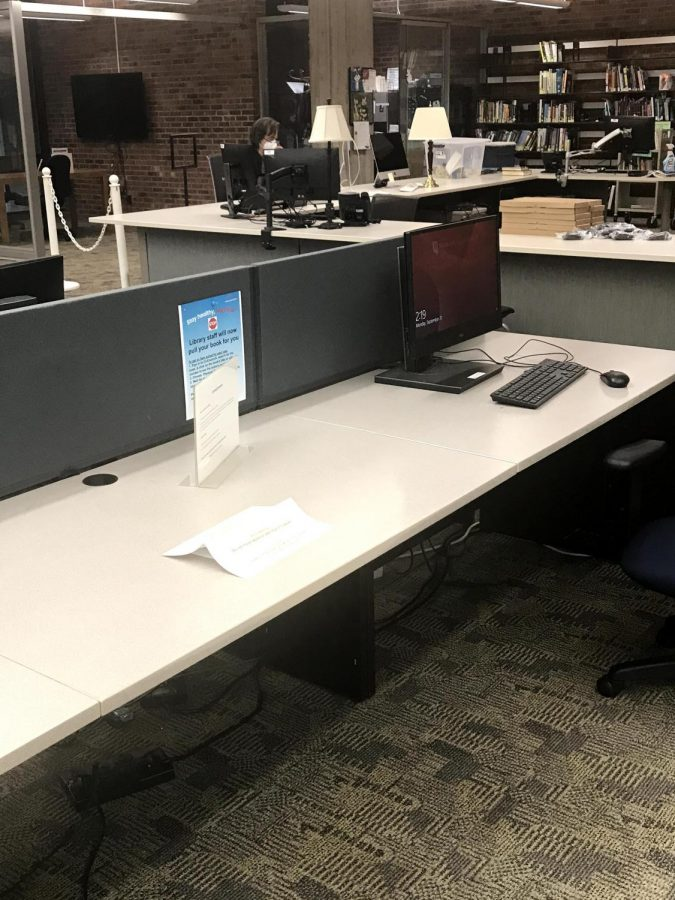 The computers in the library are now spread out due to Covid-19