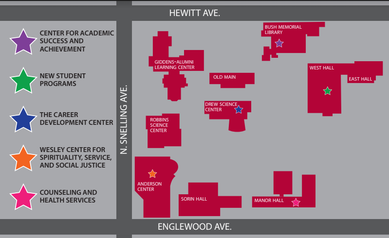 A map of various resources around campus that are described in the article