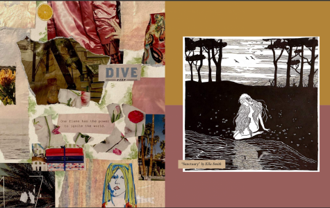 """Alt Text: art features blush tones along with hues of orange. The words printed on the left read, """"Dive deep, and one flame has the power to ignite the entire world."""" On the right there is a black and white drawing of a lady kneeling at a body of water with nature consisting of birds and trees behind her."""""""