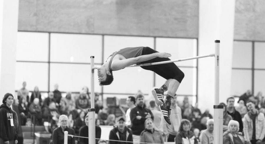 A student performing in high jump