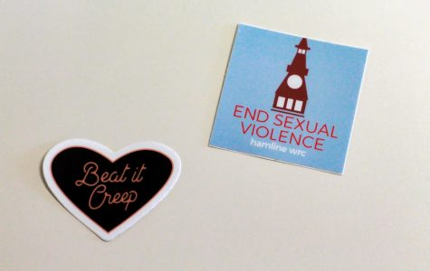 Ali Kimball Stickers from the WRC can be found stuck around campus, helping spread awareness to end sexual violence.