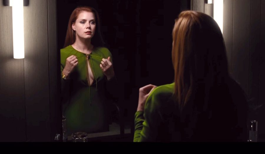 Amy Adams looking in a mirror in a scene from Nocuturnal Animals