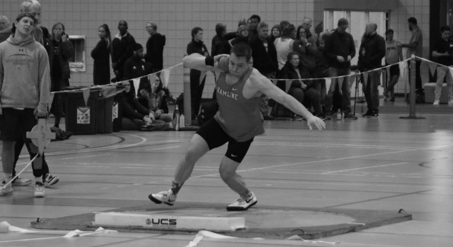 A hamline athelete winning first place in the shot put competition