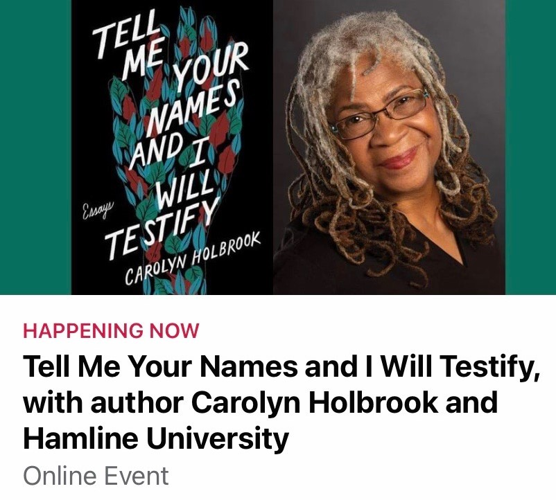 Professor+Carolyn+Holbrook+discussed+her+new+book+%E2%80%9CTell+Me+Your+Names+And+I+Will+Testify%E2%80%9D+in+a+Facebook+Live+event+on+Oct.+29.