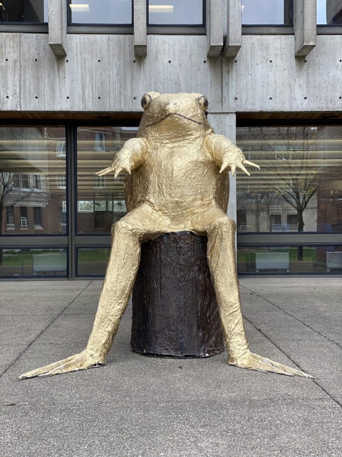 Taleah AlldrittThis eye-catching frog boy sculpture, created by frst year Janell Hammer, is made out of chicken wire and plaster. Her masterpiece can be spotted on Hewitt near Bush Library.