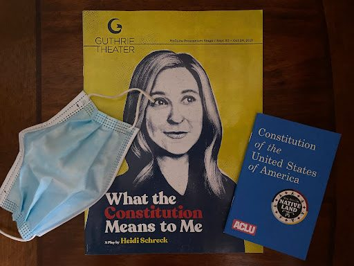 """Jack Fischer A mask is required to return to the Guthrie. Attendees are given the playbill for """"What the Constitution Means to Me"""" and a pocket Constitution donated by the American Civil Liberties Union to help follow along during the show."""